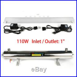 110W Ultraviolet Light Water Purifier Whole House UV Sterilizer 24GPM+2UV Bulbs