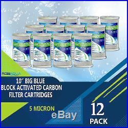 12 pcs Big Blue CTO Carbon Block Water Filters 4.5 x 10 Whole House Cartridges