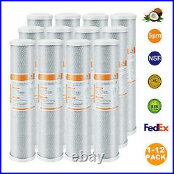 1-12 Pack 5m 20x4.5 Cartridge Whole House CTO Carbon Block Water Filter, Grey