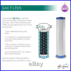 20x4.5 Big Blue two Stage Whole House Water Filter System, 3/4 in/out Ports S