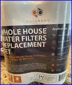 2-PACK of Aquaboon Sediment Water Filter Whole House Big Blue 5 Micron 10x4.5