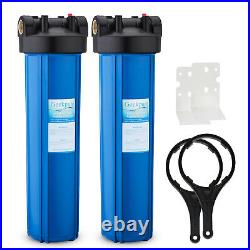 2 Packs 20-Inch Heavy Duty Big Blue Whole House Water Filter Housing 1 Port