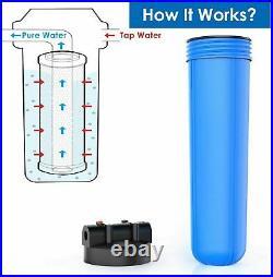 2 Set 20x4.5'' Big Blue Filter Housing+ Spin Down Sediment Reusable Water Filter