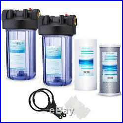 2 Stage 10 Big Blue Clear Housing For Whole House Water Filter 1 Outlet/Inlet