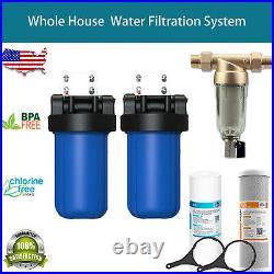 2-Stage Big Blue 10 Whole House Filtration System+Stand+Carbon +Golden Sediment