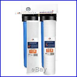 2-Stage Big Blue 20 Whole House System 1 Port+, Carbon, String Sediment, Gauge