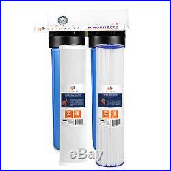2-Stage Big Blue 20 Whole House System 1 Port+, GAC, 2 Sediment Filters, Gauge