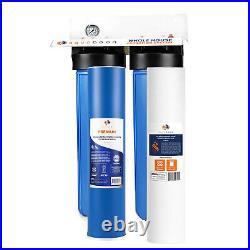 2-Stage Big Blue 20 Whole House System 1 Port+, GAC, Sediment Filter, Gauge