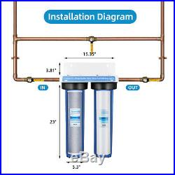 2 Stage Heavy Duty Big Blue Whole House Water Filtration System 20 x 4.5