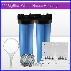 2 x20x4.5 BB Whole House Filter Blue Housing 1 Ports with Wrench, Gauge, Bracket