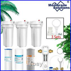 3 Stage 10 Inch Water Filter System plus Updated Spin Down Water Pre Filter Sets