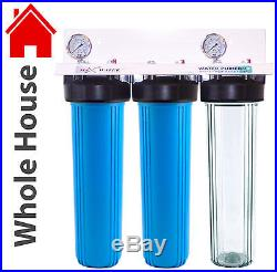 3 Stage 20 x 4.5 Big Blue Whole House Max Water Filter System 3/4 With 2 Gauges
