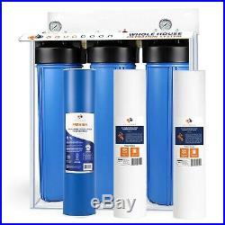 3-Stage Big Blue 20 Whole House System 1 Port+, GAC, 2 Sediment Filters, Gauge