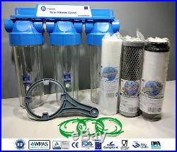 3 Stage Whole House High Flow Water Filter Dechlorinator Chlorine Removal 3/4