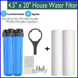 4.5 x 20 Whole House Water Filter Blue 1 Outlet Inlet + 2CTO + 2Melt-Blown