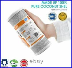 4.5x10'' Big Blue Whole House System, 4 Carbon Block Water Filter Cartridge