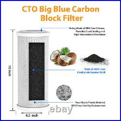 5 Micron 10x4.5 Big Blue PP CTO Carbon Block Sediment Water Filter Whole House