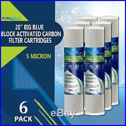 6 pcs Big Blue CTO Carbon Block Water Filters 4.5 x 20 Whole House Cartridges