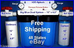 Big Blue 10 Dual (Blue) Whole House Water Filter/1 Ports Sediment Carbon H2O
