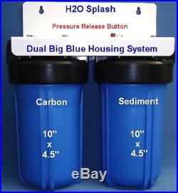 Big Blue 10 Dual (Blue) Whole House Water Filter / RO 1 Ports H2O Splash