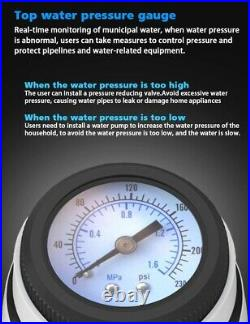 Central Double Pre Filter Whole House Water Purifier Backwash Pressure Gauge