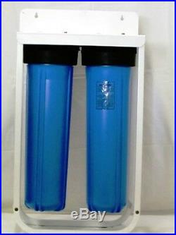 DUAL WHOLE HOUSE BIG BLUE WATER FILTER HOUSING with SEDIMENT + CARBON CARTRIDGES
