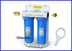 Desert Stream 2 Stage RV Water Filter System Slim Portable 3/4 Garden Hose