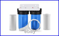Dual 10 Big Blue Water Filter System Sediment and KDF 55+Carbon 4.5 x 10
