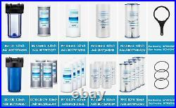Geekpure 10 Whole House Water Filter Housing Fit 4.5x 10 Filters-Pack 4-Clear