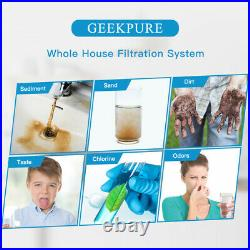 Geekpure 2 Stage Clear Big Blue Whole House Filter System 1 Port 10 x 4.5