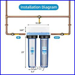 Geekpure 2 Stage Heavy Duty Big Blue Whole House Filtration System 20 x 4.5