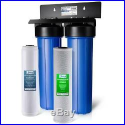 ISPRING Whole House Water Filter 100k Gal. 40 lb. 2-Stage Threaded Fitting