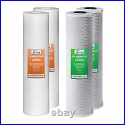ISpring F4WGB22B 4.5 x 20 2-Stage Whole House Water Filter Pack Set with Se