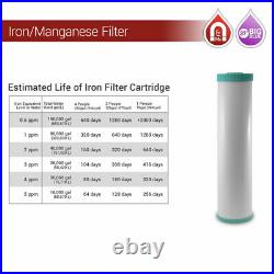 Iron Manganese Whole House 3 Stage 20x 4.5 Big Blue Max Water Filter 1 Ports