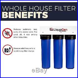 LiquaGen Triple Heavy Duty Big Blue Whole House Water Filter System 1 Inlets