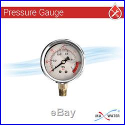Max Water 3Stage Big Blue 1 Port Whole House Water Filter+Pressure Gauge Single