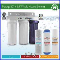 Max Water 3 Stages 10x 2.5 3/4 Port Whole House Iron Manganese Water Filter