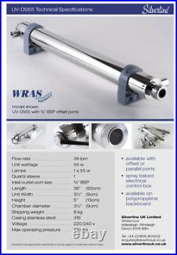 NEWUltra Violet, UV Water Treatment System 36l/min Whole House Steriliser Filter