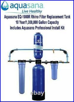 NEW Aquasana EQ-1000R Rhino Water Filter + Prof. Install Kit 10yr/1,000,000 Gal