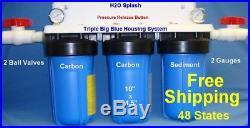 Triple Big Blue Whole House Blue Water Filter Sediment/2 Carbon BV H2O Splash