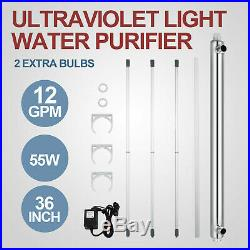UV Water Purifier Sterilizer Ultraviolet Filter 12GPM &2 Extra Bulbs Whole House