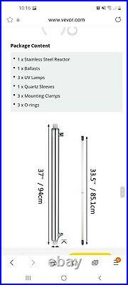 Ultaviolet Light Water Purifier 55w Whole House Sterilizer Filter 12gpm 3 lamp