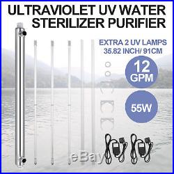 Ultraviolet Filter UV Water Sterilizer Purifier 12GPM Whole House 55w 3 UV Lamps