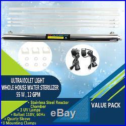 Ultraviolet Light Water Sterilizer Whole House UV Purifier 12 GPM +Bulbs 55W USA
