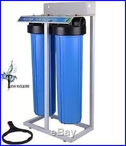 Whole House Filter (2) Big Blue 20x4.5 1PR SedimentKDF85/GAC Frame Stand