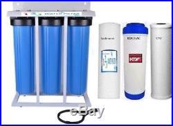 Whole House Filter (3) Big Blue 20x4.5 1 NPT PR KDF85-GAC/Carbon/Sediment
