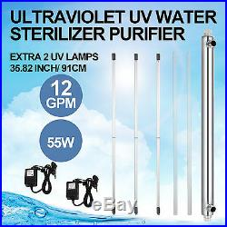 Whole House Ultraviolet Filter UV Water Purifier Sterilizer 12GPM+2 Extra Bulbs