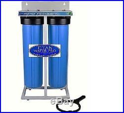 Whole House Water Filter-dual Big Blue Sediment Kdf55 Gac 4.5x20 Housing