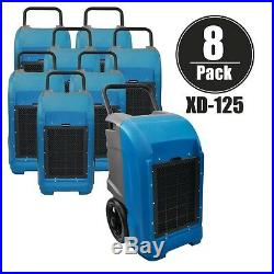 XPOWER XD-125 Pint Industrial Professional Dehumidifier withAuto Purge Pump-8 Pack